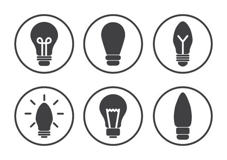 Set of light bulb icons, different lamp, Black round pictogrames, flat design. Vector illustration 版權商用圖片 - 134433712