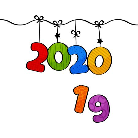 2020. Greeting card for New Year. Cartoon hanging colorful numbers. Vector illustration