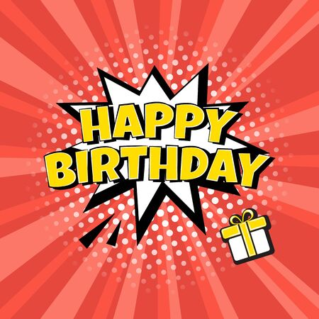 HAPPY BIRTHDAY. Comic speech bubble with halftone dot shadow on red background in pop art style. Vector illustration Иллюстрация