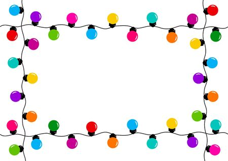 Frame with holiday decoration garland, colorful light bulbs, space for your text. Vector illustration 版權商用圖片 - 134433824