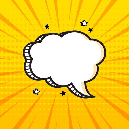 White empty comic speech bubble with halftone dots shadow and stars on yellow background in pop art style. Vector illustration
