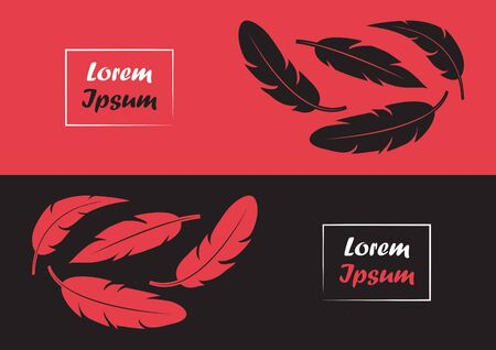 Abstract modern banner with feather, red and black colors. Vector illustration