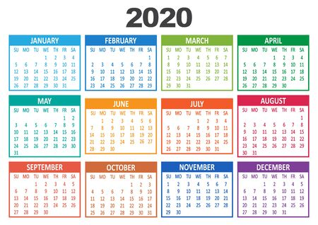 Colorful yearly calendar 2020. Week starts from Sunday. Vector illustration Иллюстрация