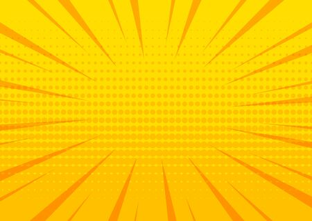 Yellow comic pop art abstract halftone background with sunbeams, space for your text. Vector illustration 版權商用圖片 - 134433836