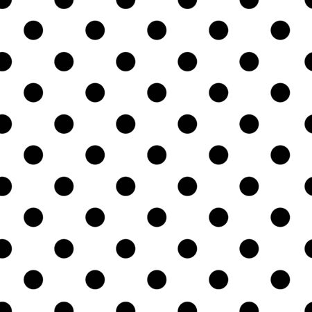 Polka dot seamless pattern, black and white design. Vector illustration