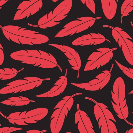 Modern seamless pattern with red feathers on dark background. Vector illustration Иллюстрация