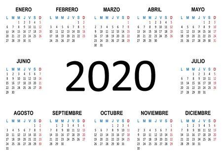 Yearly calendar Spanish 2020. Week starts Monday. Vector illustration Иллюстрация