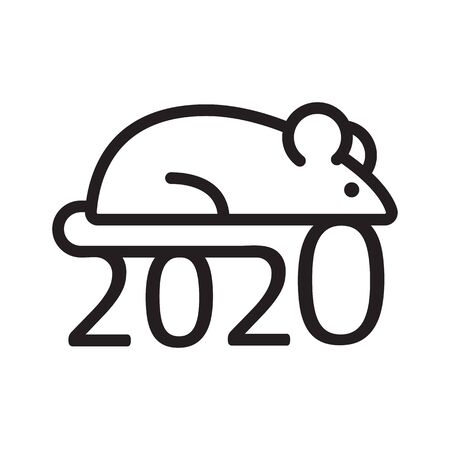 2020. Mouse. Holiday design for Chinese New Year. Vector illustration