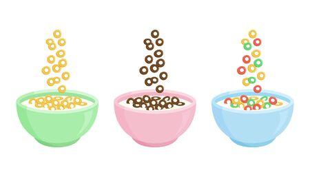 Müslifrühstück. Keramikschale mit Milch und verschiedenen süßen Knusperflocken. Fallende bunte Getreideschleifen. Gesundes Essen für Kinder. Vektor-Illustration