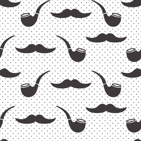 Male seamless pattern, gentlemens print with mustaches and smoking pipes on polka dot background. Black and white design. Vector illustration 版權商用圖片 - 134433937