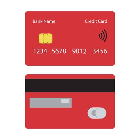 Red credit card icon, front and back view. Vector illustration