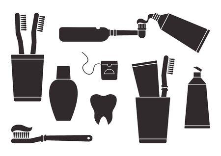 Pasta de dientes y cepillo de dientes. Cuidado e higiene bucal, odontología y limpieza dental. Siluetas negras aisladas sobre fondo blanco. Ilustración vectorial