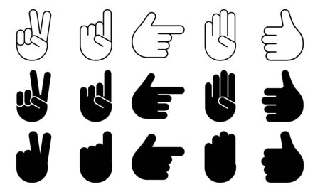 Different hands gestures of human, set of black and white icons, outline, flat design, silhouettes. Vector illustration