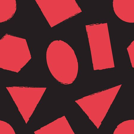 Geometric seamless pattern with red differents grunge shapes on black background. Vector illustration