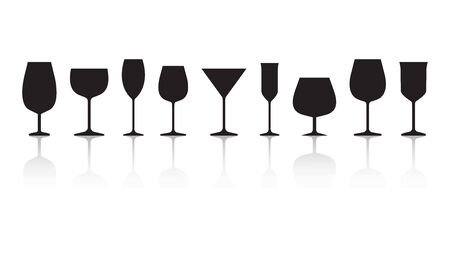 Glasses for different alcohol drinks. Black silhouettes with reflection isolated on white background. Vector illustration Иллюстрация
