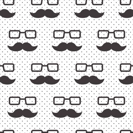 Male seamless pattern, gentlemens print with mustaches and glasses on polka dot background, wrapping paper. Black and white design. Vector illustration