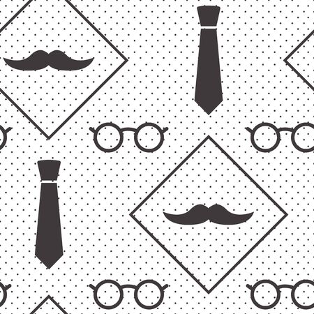 Male seamless pattern, gentlemens print with mustaches, ties and glasses on polka dot background, wrapping paper. Black and white design. Vector illustration 版權商用圖片 - 134433952