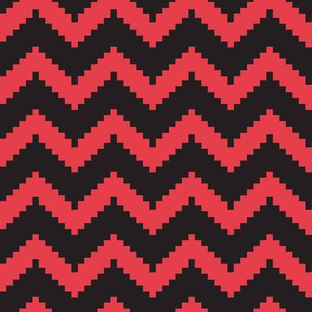 Chevron seamless pattern. Decorative classic striped print in zig zag, red and black colors. Vector illustration Иллюстрация