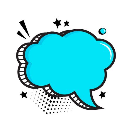 Blue empty comic speech bubble with halftone dots shadow and stars in pop art style. Vector illustration