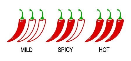 Spicy chili pepper levels. Mild, spicy, hot. Vector illustration