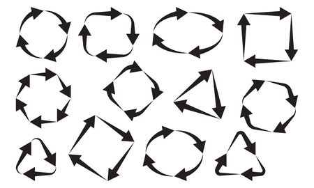 Collection black arrows different shapes. Vector illustration