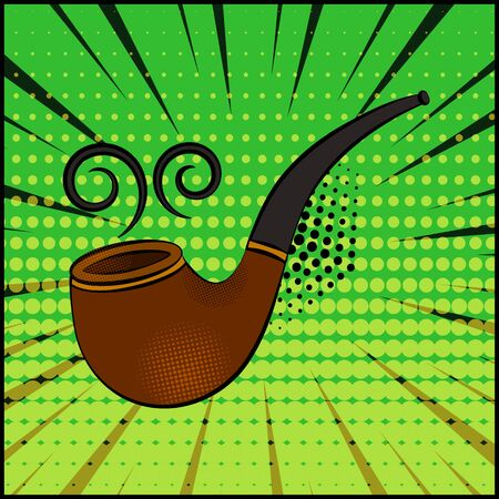 Comic smoking pipe on green background in pop art style. Vector illustration 向量圖像