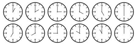 Clock set. Different times. Outline design. Vector illustration