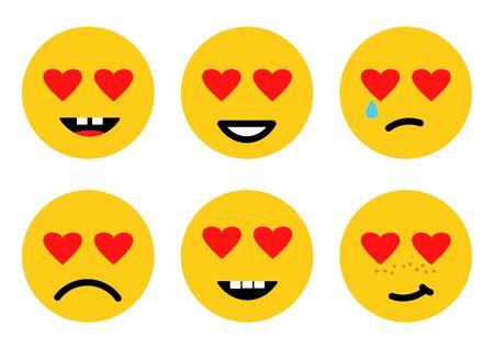 Love emoji, smile face icons, different emotions. Vector illustration 向量圖像