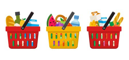 Supermarket. Shopping baskets with foods. Vector illustration