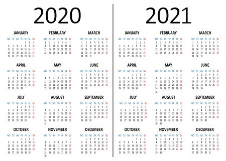Yearly calendar 2020, 2021. Week starts from Monday. Vector illustration
