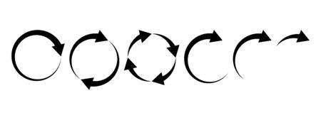 Black round arrows set, circle shapes. Vector illustration