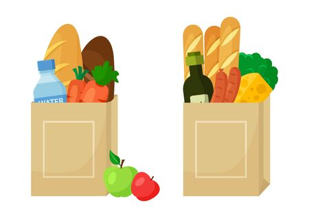 Food shop. Paper package with foods. Vector illustration