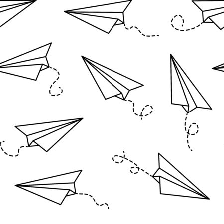 Seamless pattern with paper airplanes, outline black and white design. Vector illustration 向量圖像