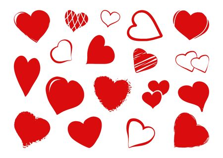 Red different heart hand drawn. Elements for design greeting card. Vector illustration