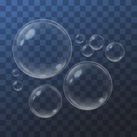 Realistic bubbles on blue transparent background. Vector illustration