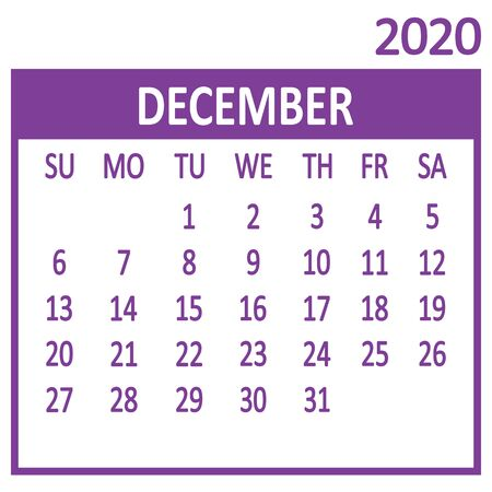 December. Twelfth page of set. Calendar 2020, template. Week starts from Sunday. Vector illustration