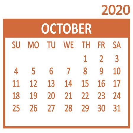 October. Tenth page of set. Calendar 2020, template. Week starts from Sunday. Vector illustration 版權商用圖片 - 137463972