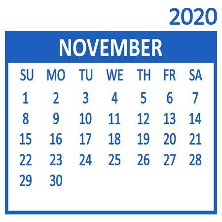 November. Eleventh page of set. Calendar 2020, template. Week starts from Sunday. Vector illustration
