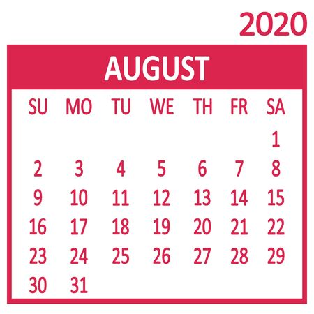 August. Eighth page of set. Calendar 2020, template. Week starts from Sunday. Vector illustration 向量圖像