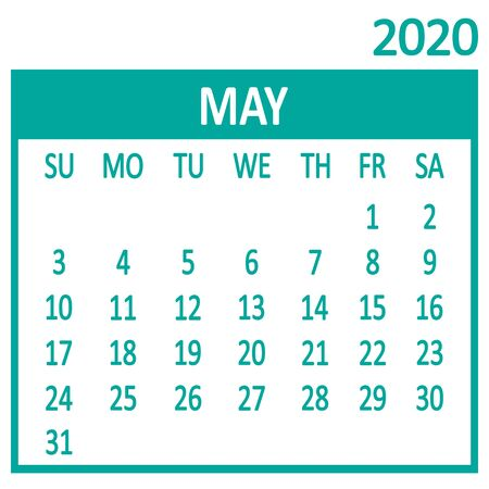 May. Fifth page of set. Calendar 2020, template. Week starts from Sunday. Vector illustration