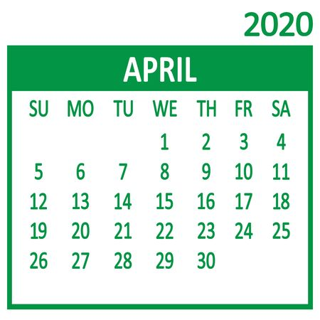 April. Fourth page of set. Calendar 2020, template. Week starts from Sunday. Vector illustration 向量圖像