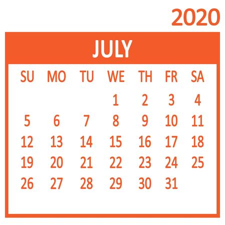 July. Seventh page of set. Calendar 2020, template. Week starts from Sunday. Vector illustration 向量圖像