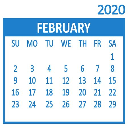 February. Second page of set. Calendar 2020, template. Week starts from Sunday. Vector illustration 版權商用圖片 - 137465411
