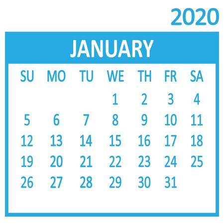 January. First page of set. Calendar 2020, template. Week starts from Sunday. Vector illustration