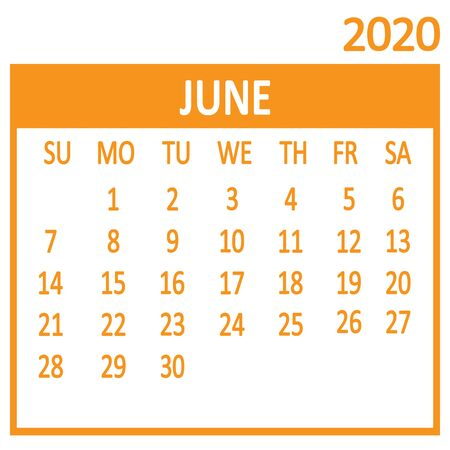 June. Sixth page of set. Calendar 2020, template. Week starts from Sunday. Vector illustration 版權商用圖片 - 137464083