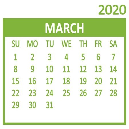 March. Third page of set. Calendar 2020, template. Week starts from Sunday. Vector illustration