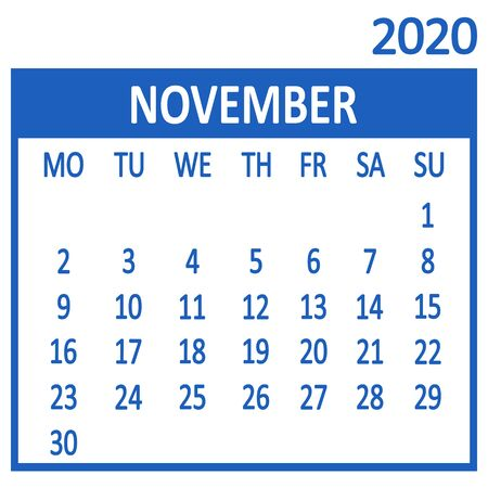 November. Eleventh page of set. Calendar 2020, template. Week starts from Monday. Vector illustration