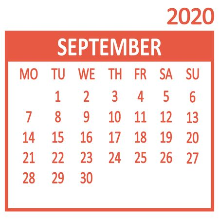 September. Ninth page of set. Calendar 2020, template. Week starts from Monday. Vector illustration 版權商用圖片 - 137471604