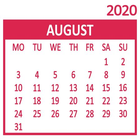 August. Eighth page of set. Calendar 2020, template. Week starts from Monday. Vector illustration