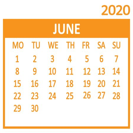 June. Sixth page of set. Calendar 2020, template. Week starts from Monday. Vector illustration